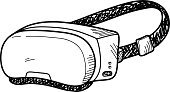 Entertainment,Personal Accessory,Video Game,Modern,Technology,Virtual Reality Simulator,Portable Information Device,Simulator,Vector,Electrical Equipment,Single Object,Symbol,Sketch,Illustration,Doodle,Cartoon,Gamer