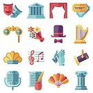 Symbol,Performing Arts Event,Decoration,Hat,Comedy Mask,Curtain,Design Professional,Opera,Illustration,Applauding,Architectural Column,White,Sign,Set,Isolated,Ideas,Building Exterior,Harp,Fashion,Ticket,Theatrical Performance,Backgrounds,Vector,Cultures,Binoculars,Flower,Music,Urban Scene,Tragedy Mask,Acting,Performance,Insignia,Mask - Disguise,Flat,Single Object,Creativity,Painted Image,Collection,Musical Note,Projection Equipment,Event,Musical Theater,Microphone