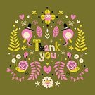 111645,Thank You Card,Retro Styled,No People,Note,Sign,Animal,Greeting Card,Ornate,Thank You,Illustration,Nature,Greeting,Note - Message,Symbol,Insignia,Bird,Decoration,Typescript,Vector,Label,Text