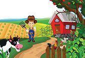 Adult,Men,Agriculture,Farm,Outdoors,Illustration,Vector