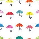 Cut Out,Abstract,Retro Styled,No People,Computer Graphics,Cute,Ornate,Illustration,Computer Graphic,Seamless Pattern,Watercolor Painting,Weather,Decoration,Environment,Backgrounds,Vector,Group Of Objects,Umbrella,Parasol,Multi Colored,Pattern,White Color,Colors,White Background