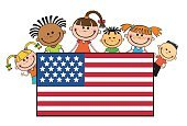 People,Fun,Circa 4th Century,Cute,Holding,Small,Multi-Ethnic Group,citizens,Boys,National Landmark,Patriotism,Day,Ethnicity,Full,July,Celebration,Illustration,Vector,Flag,USA