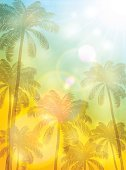 No People,Tropical Climate,Palm Tree,Outdoors,Summer,Illustration,Nature,Leaf,Sky,Sunny,Sunlight,Sunrise - Dawn,Tree,Sun,Vector,Sun,Blue,Yellow