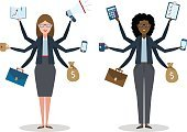 People,Business,Variation,Standing,Success,Male Beauty,Caucasian Ethnicity,Shiva,Telephone,Group of Objects,Illustration,Women,Multi-Tasking,Efficiency,Tasking,Calculator,Vector,Leadership,Working Late,Backgrounds,Skill,Businesswoman