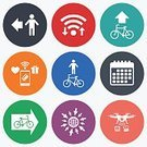 Adult,Men,Sign,Computer Software,Wheel,Pedestrian,Cycle,Illustration,People,Shape,Symbol,Cycling,Bicycle,Transportation,Family,Sport,Mobile App,Paying,Communication,Token,Wireless Technology,Camera - Photographic Equipment,Calendar,Vector,Photography Themes,Downloading,Label,Badge