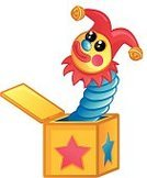 Jack-in-the-Box,Toy,Box - Container,Childhood,Surprise,Jester,Springs,Vector,Ilustration,Bell,Hat,Cheerful,Birthdays,Christmas,Babies And Children,Lifestyle,Smiling,Star Shape,Holidays And Celebrations