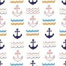 Abstract,Repetition,No People,Doodle,Sea,Ornate,Summer,Anchor - Vessel Part,Illustration,Nature,Symbol,Fashion,Wave,Seamless Pattern,Travel,Backgrounds,Arts Culture and Entertainment,Vector,Blue,Red,Pattern,White Color,Colors,Textile