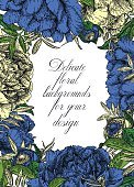 Frame,Flower,Sketch,Plant,Painted Image,Wedding,Greeting Card,Petal,Engraved Image,Illustration,Leaf,Greeting,Image,Flower Head,Bud,Outline,Peony,Curled Up,Decoration,Drawing - Activity,Picture Frame,Backgrounds,Blossom,Bouquet,Decor,Vector,Monoprint,Blue,Striped,Pattern