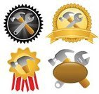Repairman,Mechanic,Plumber,Work Tool,certified,Badge,Award,Construction Industry,Repairing,Grumman E-2C Hawkeye,Security,Equipment,Insignia,Hammer,Occupation,Placard,Achievement,Gratitude,Working,Wrench,Adjustable Wrench,Musical Instrument,Spanner,Metal,Manual Worker,Isolated,Shiny,Copy Space,Single Object,Decoration,Steel,Inch,Illustrations And Vector Art,Man Made Object
