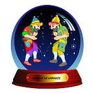 Illustration,Men,Puppet,Snow Globe,Hacivat