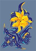 Tattoo,Single Flower,Design,Blue,Art,Yellow,Contrasts,Decoration,Ripe,Style,Saturated Color,Arts And Entertainment,Coral Orange,Vector Florals,Ethereal,Arts Abstract,Vector Ornaments,Illustrations And Vector Art,Vibrant Color,Orange Color,Grace,Modern