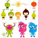 Fruit,Characters,Child,Apple - Fruit,Branch,Orange - Fruit,Orange Color,Ilustration,Tree,Sun,Tomato,Flip-flop,Adhesive Bandage,Happiness,Pear,Smiling,Friendship,Cloud - Sky,Modern,Twig,Pink Color,Joy,Determination,Vector Cartoons,Fruits And Vegetables,Tranquil Scene,Character Traits,Positive Emotion,Food And Drink,Concepts And Ideas,Illustrations And Vector Art