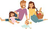 People,Vector,Family,Summer,Cheerful,Mother,Happiness,Illustration,Picnic