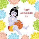 Janmashtami,Beauty,Beautiful,Happiness,Cheerful,Birthday,Beautiful People,Vishnu,Sacred Lotus,Greeting Card,peacock feather,Pattern,India,Lotus Water Lily,New Life,Small,Child,clay pot,Greeting