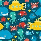 Multi Colored,Fun,Underwater,Vector,Illustration,Cute,Sea Horse,Pattern,Backgrounds,Seamless,Whale,Sea Life