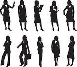 Silhouette,Businesswoman,Women,Female,Suit,White Collar Worker,Vector,Teaching,Standing,Briefcase,Black Color,Book,Skirt,Black And White,Ilustration,Showing,Posing,Suitcase,Full Length,Computer Graphic,Isolated On White,White Background