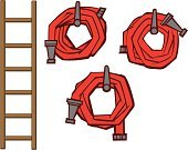 Ladder,Fire Hose,Fire Station,Cartoon,Vector,Collection,Set,Arrangement,Emergency Services,Ilustration,Group of Objects
