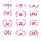 Horizontal,Abstract,No People,Leaf,Decoration,Illustration,Ornate,Pink Color