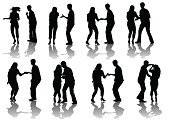 People,Motion,Elegance,Dancing,Party - Social Event,Heterosexual Couple,Disco Dancing,Silhouette,Beauty,Swinging,Teenager,Adult,Young Adult,Cut Out,Nightclub,Illustration,Celebration,Males,Men,Females,Women,Dancer,Vector,Couple - Relationship