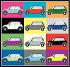 Mini Cooper,Mini Car,Car,Poster,Side View,In A Row,Vector,Variation,Multi Colored,Land Vehicle,Engine,Square,No People,Group of Objects