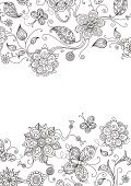 Flower,Floral Pattern,Frame,Black Color,White,Pattern,Retro Revival,Butterfly - Insect,Backgrounds,Old-fashioned,Vector,Design Element,Swirl,Design,Abstract,Ornate,Modern,Computer Graphic,Silhouette,Outline,Decoration,Single Line,Springtime,Scroll Shape,Elegance,Ilustration,Black And White,Summer,Textured Effect,Leaf,Branch,Nature,Clip Art,Wallpaper Pattern,Colors,Vertical,Petal,Curve,Cut Out,Flower Head,Stem,Bud,Season,Composition,Beauty In Nature,Copy Space,Duotone,White Background