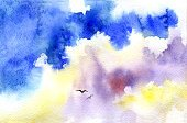 Horizontal,No People,Watercolor Paints,Bird,Illustration