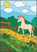No People,Horse,Farm,Animal,Cartoon,Illustration,Vector