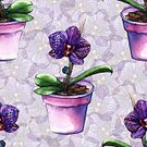 Square,No People,Art,Watercolor Painting,Watercolor Paints,Painted Image,Single Flower,Art And Craft,Flower,Orchid,Illustration,Seamless Pattern