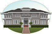 Mansion,House,Facade,Vector,Front View,Suburb,Real Estate,Residential Structure,Residential District,Illustrations And Vector Art,Architecture And Buildings,Homes,Front or Back Yard,Horizontal,Building Exterior,No People,Ilustration
