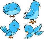 Bird,Clip Art,Cute,Vector,Animal,Blue,Set,Ilustration,Birds,Animals And Pets,Illustrations And Vector Art
