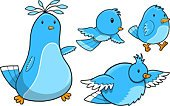 Clip Art,Bird,Cute,Animal,Blue,Ilustration,Birds,Illustrations And Vector Art,Set,Vector,Animals And Pets