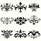 Scroll Shape,Ornate,Victorian Style,Decoration,Swirl,Victorian Architecture,flourishes,Design Element,Vector,Flower,Black Color,Gothic Style,Antique,Set,filigree,Retro Revival,Old-fashioned,Leaf,Silhouette,Plant,Curled Up,Nature,Spiral,Black And White,Isolated,Isolated On White,Illustrations And Vector Art,Small Group of Objects,No People,Vector Ornaments
