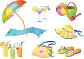 Beach,Umbrella,Symbol,Toy,Bucket,Towel,Hat,Shoe,Relaxation,Sea,Slipper,Vector,Leisure Activity,Tropical Climate,Bag,Summer,Cocktail,Holidays,Beaches,Vector Icons,Single Object,Juice,Illustrations And Vector Art,Travel Locations