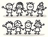 Human Hand,Child,Holding Hands,Holding,Offspring,Symbol,Cartoon,Child's Drawing,Little Girls,Little Boys,Sister,Friendship,Vector,Line Art,Brother,Outline,Doodle,Happiness,Pencil Drawing,Group Of People,Caricature,Ilustration,Smiling,Handshake,Black And White,Cheerful,Scribble,Positive Emotion,Looking At Camera,Sketch,Babies And Children,Standing,Lifestyle,Relationships,Symbols Of Peace,Looking,Image,Male