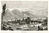 Historical Palestine,Engraved Image,Ancient,Middle East,Landscape,Mosque,Israel,Turkey - Middle East,The Past,Archaeology,Middle Ages,Old,City,History,Old-fashioned,Architecture And Buildings,Historical Geopolitical Location,Medieval,Illustrations And Vector Art,Horizontal,Anatolia,Minaret,Urban Scene,Town,Travel Locations,Antiquities,Ancient Civilization,Rustic