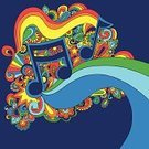 1960s Style,Psychedelic,Music,Musical Note,Psychedelic Music,Symbols Of Peace,Doodle,Flower,Swirl,Abstract,Multi Colored,Vector,Ilustration,Funky,Fun,T-Shirt,Decoration,Vector Backgrounds,Music,Illustrations And Vector Art,Scroll Shape,Arts And Entertainment