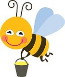 Humor,Insect,Animal Wing,Animal,Painted Image,Fun,Honey,Computer Icon,Activity,Animal Body Part,Stinger - Animal Body Part,Cheerful,Cute,Illustration,Bee,Cartoon,Flying,Small,Striped