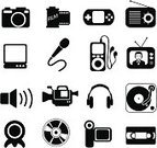 Home Video Camera,Microphone,Symbol,Computer Icon,Camera - Photographic Equipment,Videocassette,Icon Set,Vector,Multimedia,Black Color,Photograph,Computer,Photography,Ilustration,Turntable,Information Medium,Film Canister,Electrical Equipment,Radio,Set,Television Set,Headphones,Commentator,Religious Icon,Series,Leisure Games,Electronics Industry,Clip Art,Black And White,Sound,MP3 Player,CD,Communication,Instant Print Transfer,Speaker,Camera Film,Sound Mixer,Global Communications,Illustrations And Vector Art,Technology,Objects/Equipment,Vector Icons