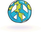 Peace Symbol,Symbols Of Peace,Earth,Planet - Space,Cartoon,Sphere,Vector,Togetherness,Unity,Ilustration,Mid-Air