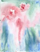 Vertical,Romance,Defocused,Flower,Love,Painted Image,Valentine's Day - Holiday,Illustration,Bud,Single Flower,Watercolor Paints,Backgrounds,Rose - Flower,Water,Bouquet,Blue,Textured,Red,Pink Color,Green Color