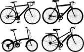 Bicycle,Mountain Bike,Silhouette,Cycle,Wheel,Vector,Outline,Racing Bicycle,No People,Black Color,Set,Ilustration,Computer Graphic,Shape,Mode of Transport,Variation,Design Element,Intricacy,Transportation,Household Objects/Equipment,Objects/Equipment,Illustrations And Vector Art,Collection,Generic