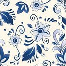 Delft,Blue,Flower,Pattern,Orchid,Seamless,Hawaiian Culture,Delftware,Vector,Tropical Climate,Botany,Old-fashioned,Antique,Leaf,Vector Florals,Vector Backgrounds,Vector Ornaments,Curled Up,Fabric Swatch,Illustrations And Vector Art,Delft Blue