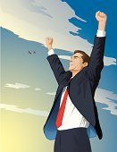 Victory,Success,Winning,Arms Raised,Legal System,Business,Sales Occupation,Business Person,Conquering Adversity,Finance,Recovery,Joy,Happiness,Businessman,Cheerful,Power,Sunrise - Dawn,Suit,Smiling,Tie,Laughing,Business,Concepts And Ideas,Illustrations And Vector Art,Business People,Success