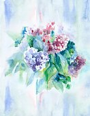 Vertical,Retro Styled,Defocused,No People,Flower,Art And Craft,Art,Painted Image,Flowerbed,Illustration,Leaf,Hydrangea,Watercolor Painting,Bouquet,Boutonniere,Blue,Red,Purple,Green Color