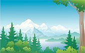 Mountain,Forest,Mountain Range,Tree,Lake,River,Landscape,Woodland,Vector,Spruce Tree,Non-Urban Scene,Fir Tree,Water,Sky,Backgrounds,Scenics,Coniferous Tree,Ilustration,Wilderness Area,Mountain Peak,Drawing - Art Product,Nature,Outdoors,Lush Foliage,Summer,Tree Trunk,Deciduous Tree,Horizon,Candid,Horizon Over Land,Painted Image,Environmental Conservation,Season,Plant,No People,Clip Art,Green Color,Nature,mountain scenic,Tranquil Scene,Day,Beauty In Nature,clean air,Color Image,Horizontal,Illustrations And Vector Art,Copy Space,Landscapes