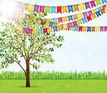 Celebration,No People,Holiday - Event,Outdoors,Garland,Park - Man Made Space,Vector,Backgrounds,Leaf,Plant,Birthday,Summer,Wedding,Invitation,Decoration,Cute,Party - Social Event,Formal Garden,Illustration,Inviting,Floral Garland,Nature,Tree,Greeting Card,Springtime