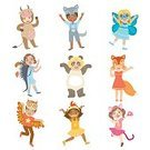 Child,big-eyed,Cut Out,Childhood,Boys,Animal,Cute,Cow,Collection,Illustration,Bird,Wolf,Backgrounds,Halloween,Owl,Fun,Vector,Label,Multi Colored,Costume,Dressing Up,Smiling,White Color,Standing,White Background