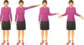 Pointing,Businesswoman,Women,Gesturing,Presentation,Teaching,Vector,Greeting,Isolated On White,Ilustration,Showing