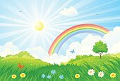 No People,Flower,Background,Day,Lawn,Meadow,Outdoors,Cute,Land,Rural Scene,Cloud - Sky,Vibrant Color,Cartoon,Flowerbed,Summer,Illustration,Nature,Sky,Non-Urban Scene,Bright,Computer Graphic,Field,Hill,Light - Natural Phenomenon,Butterfly - Insect,Horizon,Weather,Clip Art,Sunny,Horizon Over Land,Environment,Sunlight,Landscape,Season,Morning,Backgrounds,Park - Man Made Space,Formal Garden,Sunbeam,Beauty In Nature,Scenics,Tree,Grass,Sun,Vector,Shiny,Bright,Springtime,Drawing - Art Product,Sun,Rainbow,Multi Colored,Green Color