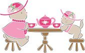 Tea Party,Tea - Hot Drink,Teddy Bear,Bear,Tea Cup,Cute,Teapot,Domestic Cat,Baby Girls,Stool,Dressing Up,Hat,Young Animal,Kitten,Pink Color,Playing,Table,Flower,Rose - Flower,Single Flower,Fantasy,Necklace,Imagination,Well-dressed,Play,Playful,Baby Animals,Vector Cartoons,Drinks,Animals And Pets,Food And Drink,Illustrations And Vector Art